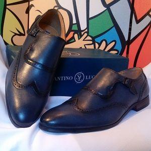 Santino Luciano Blue Monkstrap Wingtip Shoes 12